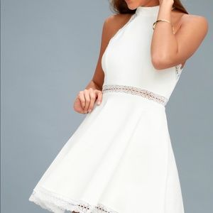 NWT Lulu's Reach Out My Hand White Skater Dress